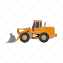bulldozer, construction, equipment, grader, machinery, tractor, transport icon