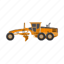 construction, equipment, grader, machinery, tractor, transport icon
