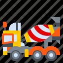 concrete, construction, machine, mixer, truck, vehicle