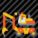 bagger, construction, excavator, machine, vehicle icon