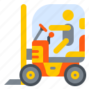 construction, forklift, lift, machine, truck, vehicle icon