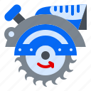 manual, machine, circural, saw, construction icon