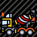 truck, vehicle, machine, mixer, concrete, construction icon