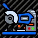 construction, cutter, grinder, machine, steel icon