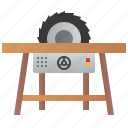 circular, cut, saw, table, woodwork icon