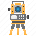 engineering, landscape, measure, theodolite, tripod icon