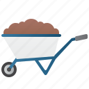 cart, construction, farm, gardening, wheelbarrow icon