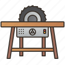 circular, cut, saw, table, woodwork