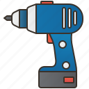 battery, cordless, drill, handyman, screwdriver icon