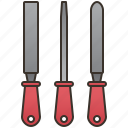builder, craftsmanship, metalwork, rasp, tool icon