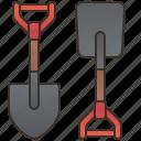 digger, equipment, farm, garden, shovel