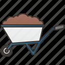 cart, construction, farm, gardening, wheelbarrow icon