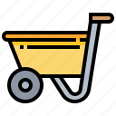 construction, garden, tool, wheelbarrow icon