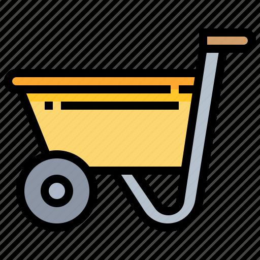 construction, garden, tool, wheelbarrow icon