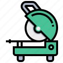 construction, cut, machine, off, steel, tool icon