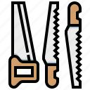 construction, saw, tool, wood icon