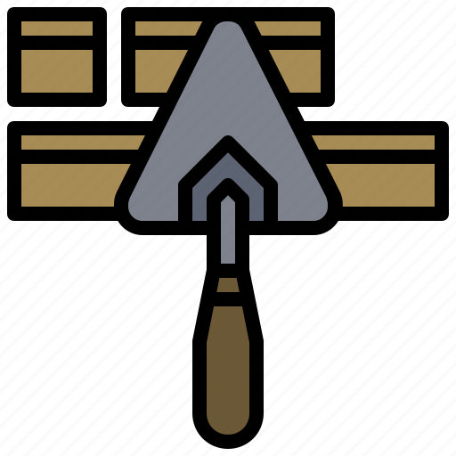 building, construction, equipment, gardening, real estate, tools, trowel icon