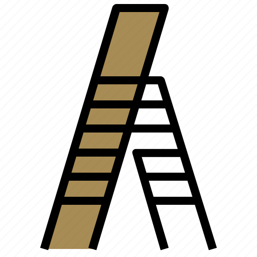 carpentry, ladder, ladders, staircase, stairs, steps, vertical icon