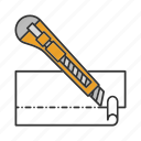 cut, cutter, knife, office knife, snap blade, stationery icon