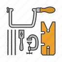 clamp, construction, fretsaw, saw, sawset, toolkit