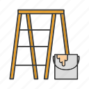 bucket, construction, ladder, paint, painting, scaffold, scaffolding