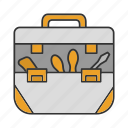 tool, kit, toolkit, instrument, toolset, toolbag, repair icon