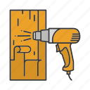 construction, heat gun, heating, paint, removing, tool icon