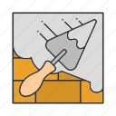 brick wall, construction, putty knife, shovel, spatula, triangular icon