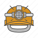 hard hat, helmet, industrial, light, miner hat, safety icon