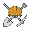 construction, hard hat, mining, navvy pick, pickaxe, shovel