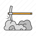 mining, navvy, navvy pick, pick, pickaxe, rock, tool icon