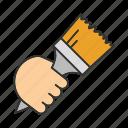 brush, construction, hand, paint, paintbrush, painting, tool