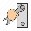 bolt, double, handtool, open-end, spanner, turn, wrench icon