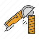 angle grinder, circular, circular blade, saw, woodcarving icon