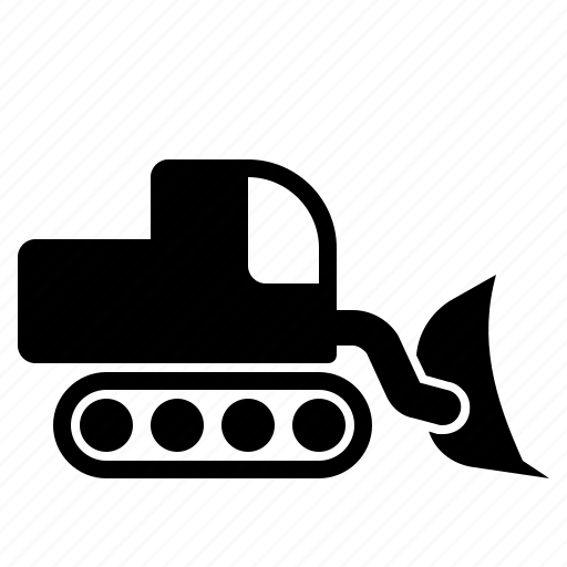 bulldozer, construction vehicle, heavy vehicle icon