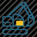 construction, excavator, machine, vehicle icon