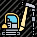 auger, bore, drilling, excavator, rig icon