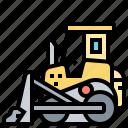 bulldozer, crawler, excavator, heavy, machine icon