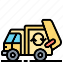 disposal, garbage, recycle, truck, waste icon