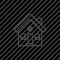 build, detached, engineering, home, house, urban, villa icon