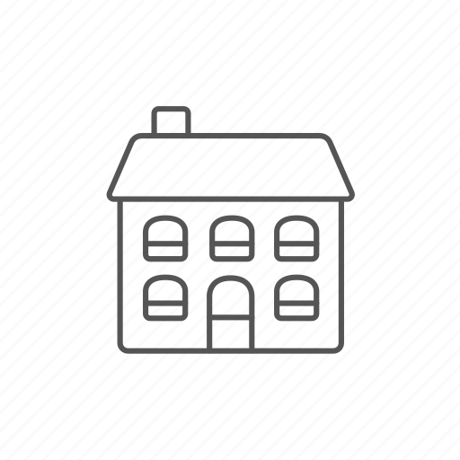 building, construction, cottage, detached, house, storey, two icon