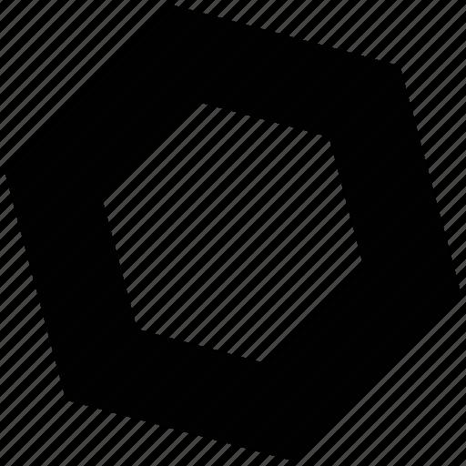 hexagon shape, hexagonal shape, industrial, machinery, nuts icon