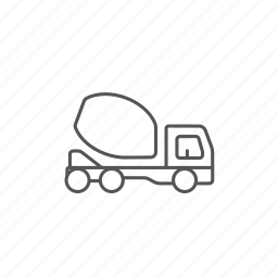 concrete, construction, heavy, machinery, mixer, truck icon