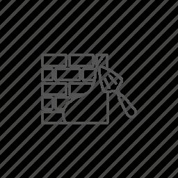brickwall, concrete, exterior, plaster, spatula, trowel icon