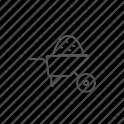 cargo, manual, sand, transportation, wheelbarrow, works icon