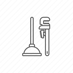 cleanliness, drain, engineering, pipe, plunger, vantuz, wrenches icon