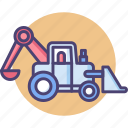 backhoe, backhoe loader, construction, dig, excavator, loader icon