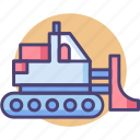 bulldozer, construction, excavator, machinery icon