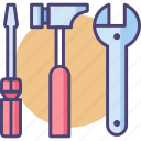 hammer, kit, screwdriver, spanner, tool, toolkit, tools icon