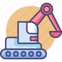 construction, dig, digger, excavator, machinery icon